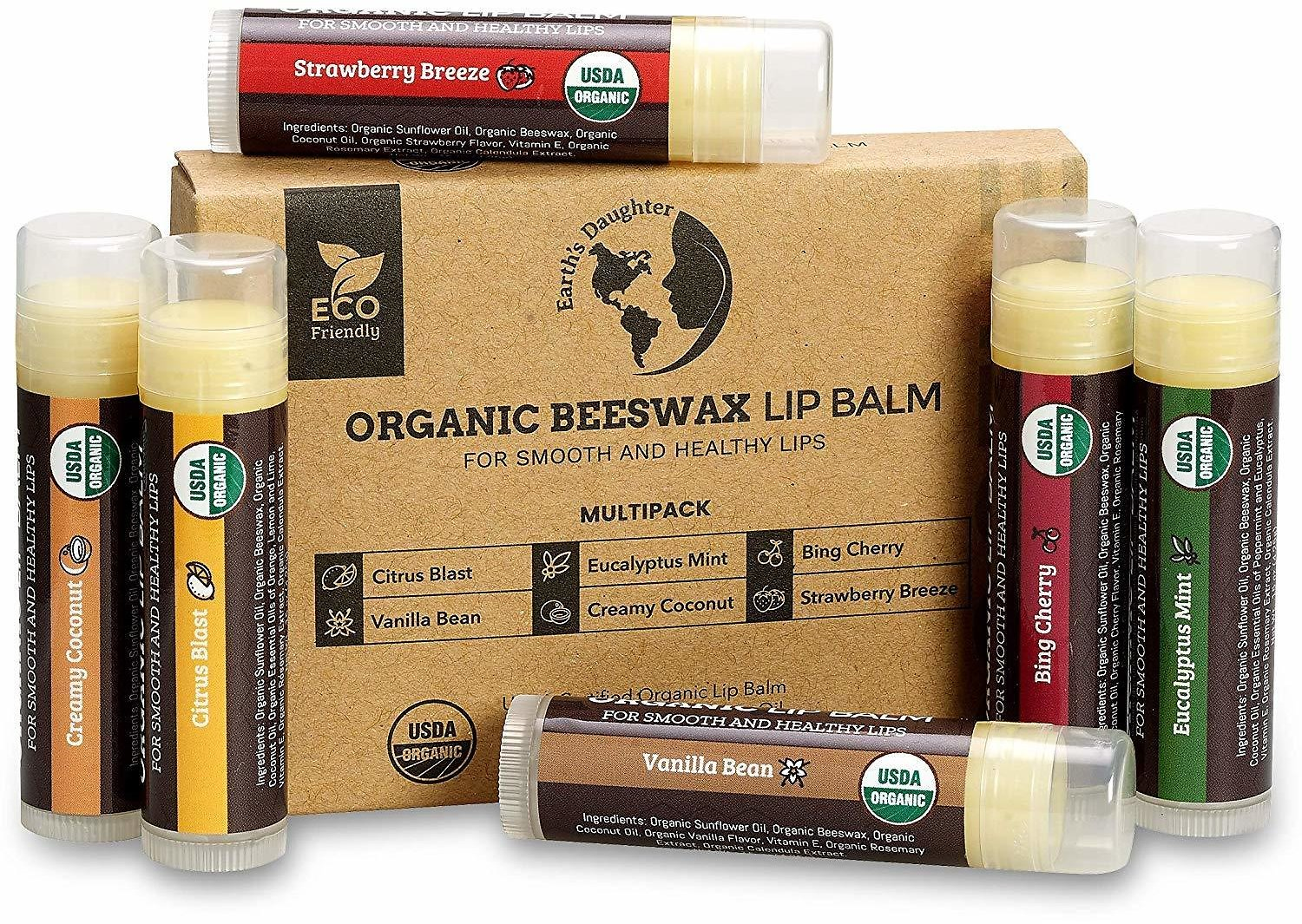Save 10%   USDA Organic Lip Balm 6-Pack By Earth's Daughter