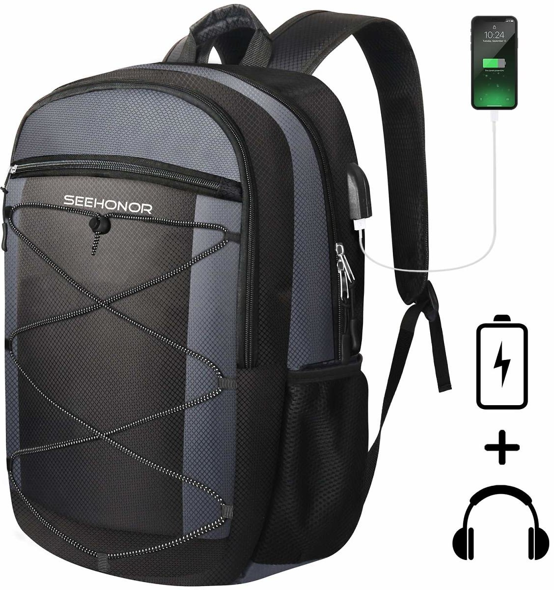 Laptop Backpack, SEEHONOR Travel Laptop Backpack with USB Charging Port, 15.6 Inch Slim Business Computer Backpack for Men Women