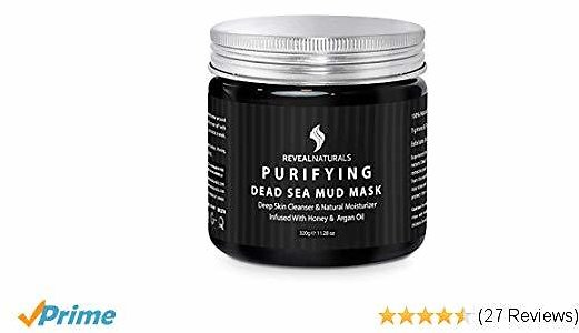 Reveal Naturals Dead Sea Mud Mask - Face & Body Mask Infused with Honey and Argan Oil - Acne Treatment & Pore Minimizer Mask - 10.6 Ounces