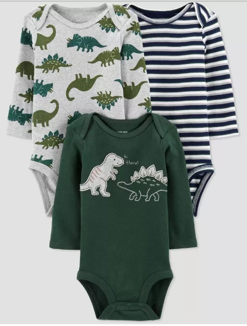 Baby Boys' 3pk Long Sleeve Dino Bodysuits -Newborn