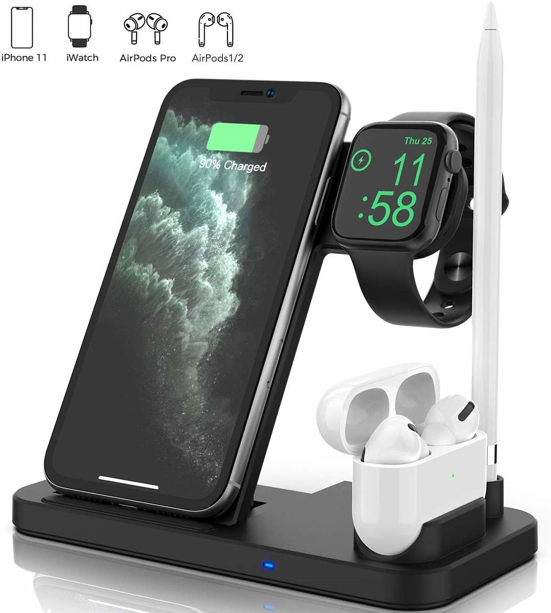 Updated Version 4 in 1 Wireless Charger, Fast Wireless Charging Dock Station for Apple iWatch Series 5/4/3/2/1, AirPods Pro/2