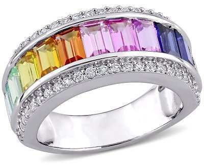 3.85 CT. T.G.W. Multi-Color Created Sapphire Semi-Eternity Anniversary Ring in Sterling Silver