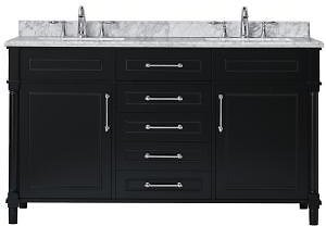 Home Decorators Collection Aberdeen 60 In. W X 22 In. D Vanity in Black with Carrara Marble Top with White Sinks-Aberdeen 60B