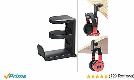 PC Gaming Headset Headphone Hook Holder Hanger Mount, Headphones Stand with Adjustable & Rotating Arm Clamp, Under Desk Design, Universal Fit, Built in Cable Clip Organizer EURPMASK