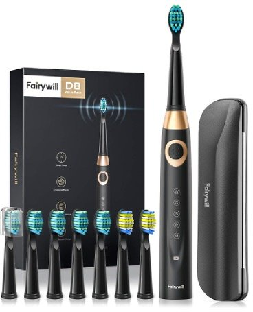 Fairywill 508 Sonic Electric Toothbrush w/ 8 Brush Heads