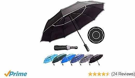 HOSA Auto Open Close Compact Portable Lightweight Travel | Night Safety Reflective Strip | Windproof Waterproof UV Protection Umbrella | for Raining Sunny Days Night Time Use (Black 46-inch)