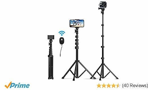 Selfie Stick Tripod, Mpow Super Long & Sturdy 57 Inch Extendable Phone Tripod Stand with Bluetooth Remote Compatible with IPhone 11 11 Pro Max Xs X 6 7 8 Galaxy S10 S9 GoPro Camera Mini Projector