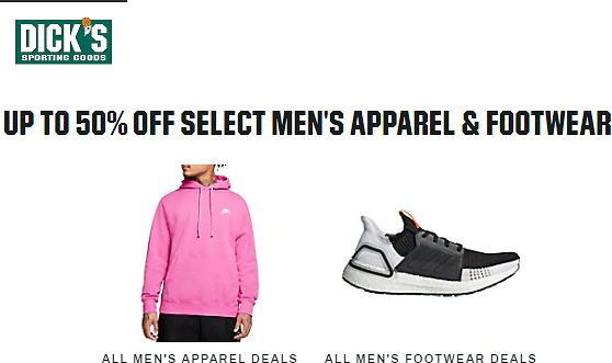 Up to 50% Off Select Men's Apparel & Footwear