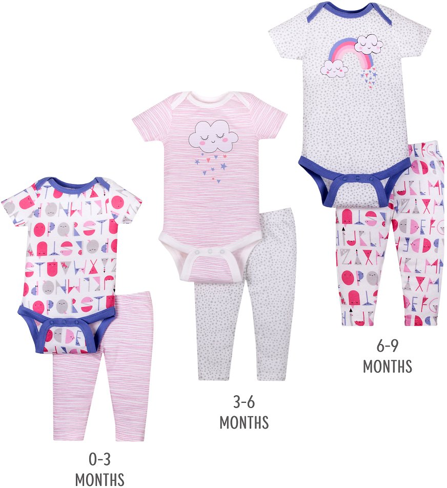 Little Star Organic Baby Girl Grow With Me Bodysuit & Pants Shower Gift Set, 6-Piece Little Star Organic Baby Girl Grow With Me