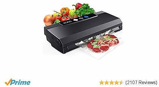 KOIOS Vacuum Sealer Machine 80Kpa Vacuum System with Cutter, 10 Sealing Bags (FDA-Certified) -Fresh UP to 5X Longer, Dry & Moist Modes, With Up To 40 Consecutive Seals (Black)