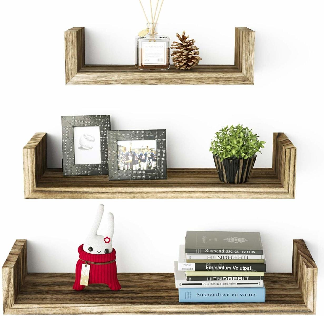 Save 25% | Set of 3 Wall Mounted Floating Shelves Made of Solid Wood Wall Shelves, Torched Finish - Ideal For Home Decor