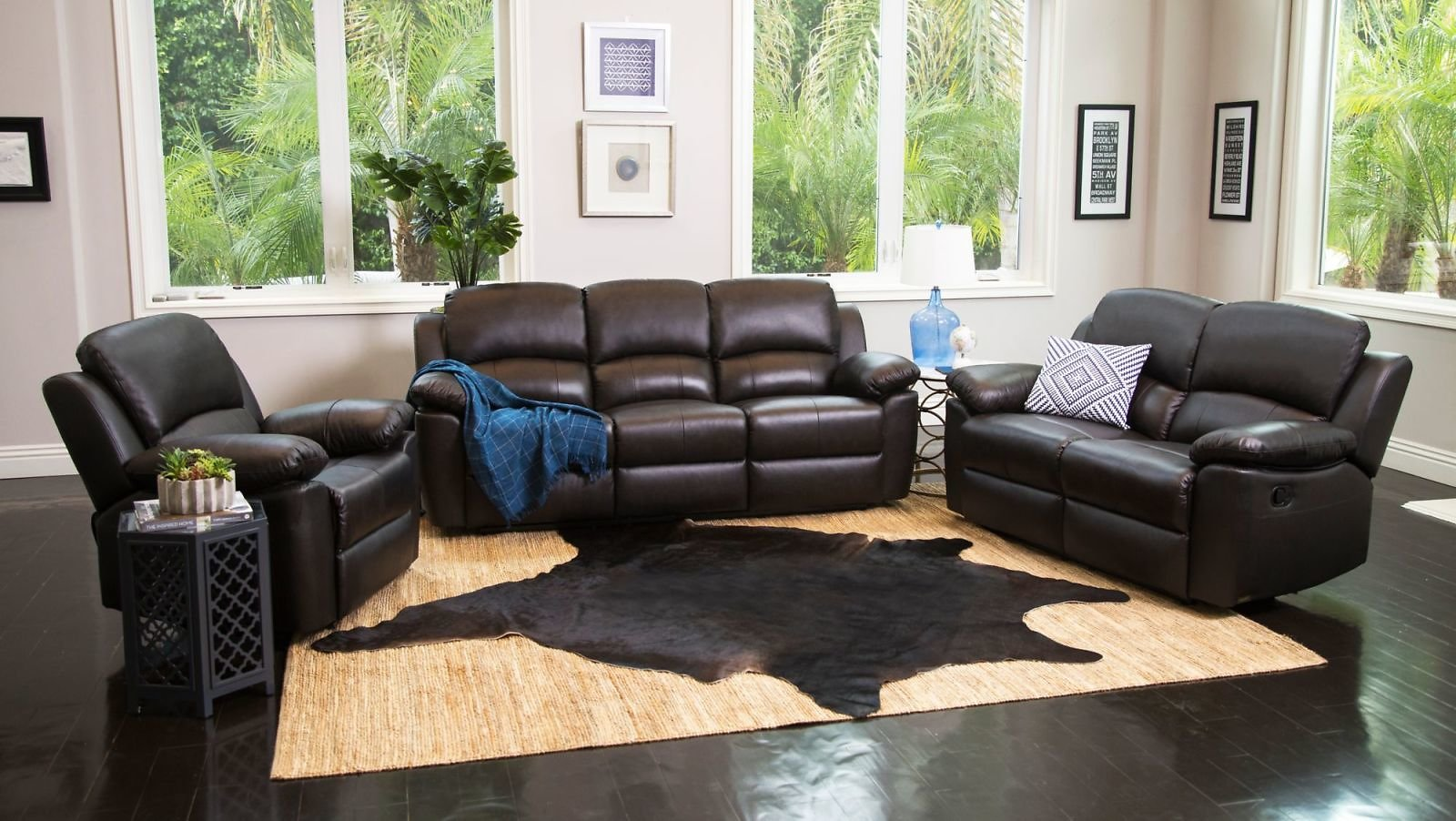 Abbyson Living Toscana 3-Pc. Reclining Set - Espresso Brown with FREE White Glove Delivery