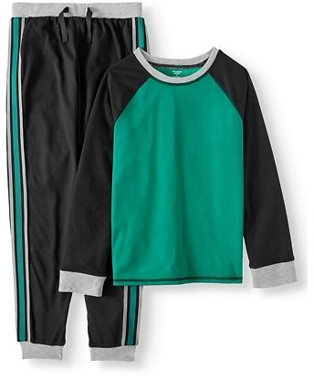 Dream Life Boys Jogger Pajama Set - Black/green Athletic Stripe (little Boy & Big Boys)