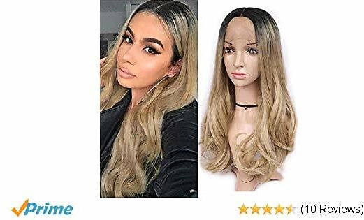 HANNE Lace Front Wig Middle Part Front Lace Wigs Ombre Blonde Synthetic Hair Long Wigs with Combs (Middle Part 1B/Light Blonde)