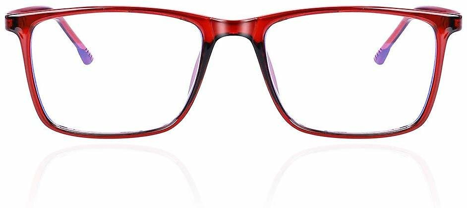 Fashionable Ruby Red Reading Glasses for Women and Men, Blue Light Blocking Glasses for Eye Strain-No Prescription