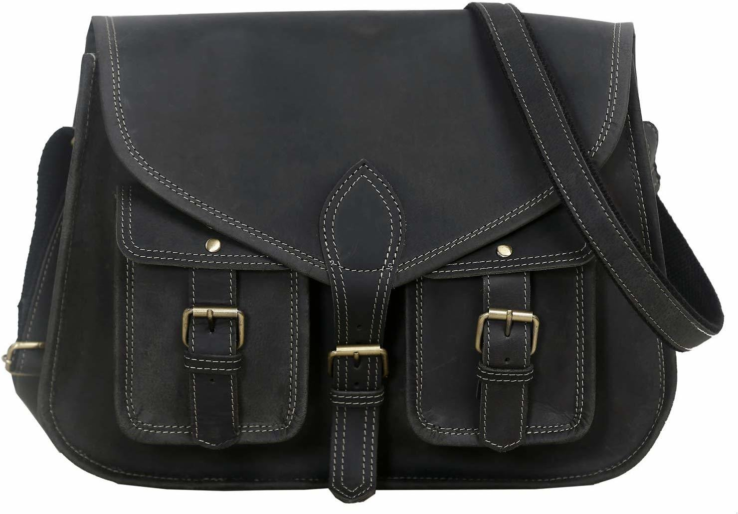 14 Inch Leather Purse for Women / Shoulder Bag / Crossbody Satchel - Genuine Leather (Charcoal Black Buffalo Leather)