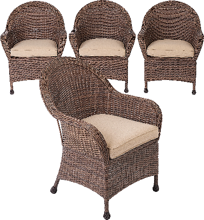 Better Homes & Gardens Porter 4Pc Patio Wicker Dining Chair Set
