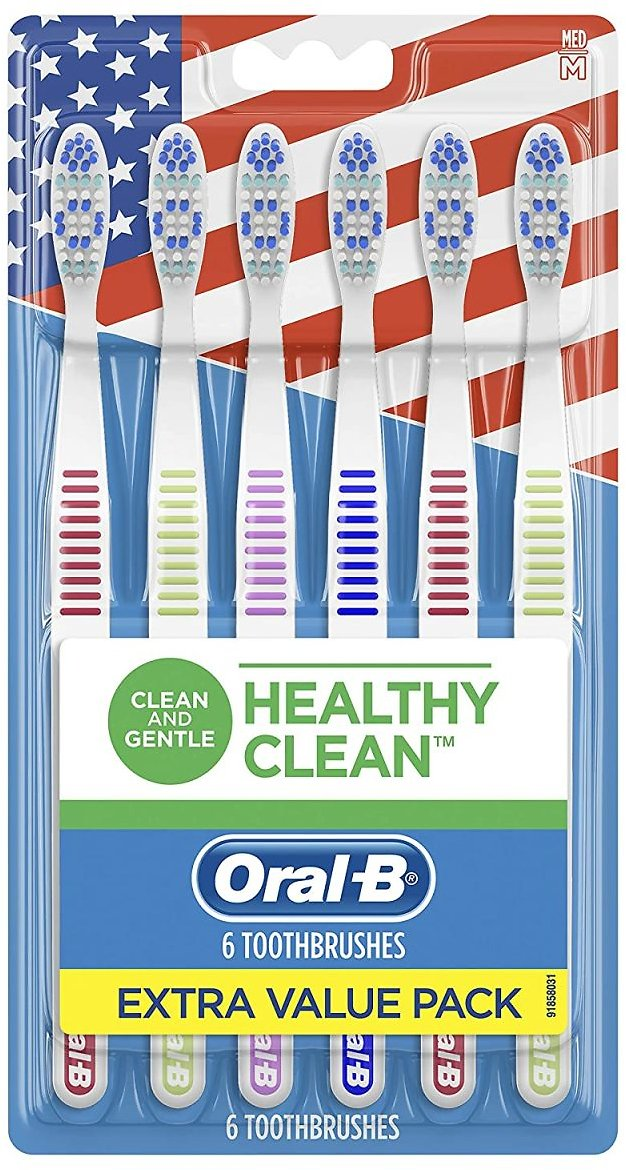 Oral-b Healthy Clean Toothbrushes, Medium Bristles, 6 Count (Assorted Colors)