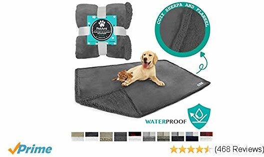 PetAmi WATERPROOF Dog Blanket for Bed, Couch, Sofa | Waterproof Dog Bed Cover for Large Dogs, Puppies | Grey Sherpa Fleece Pet Blanket Furniture Protector | Reversible Microfiber | 80 X 60 (Gray/Gray)