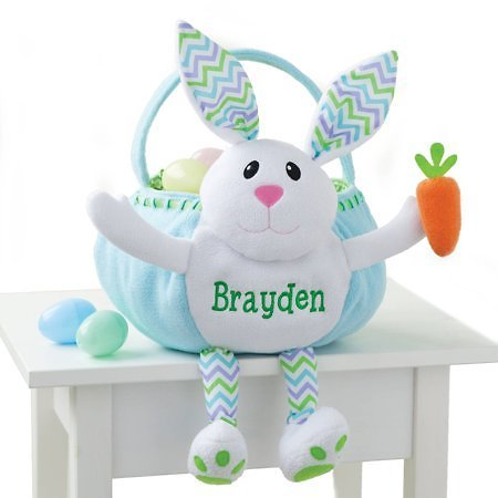 Personalized Blue Bunny Embroidered Kids Easter Basket