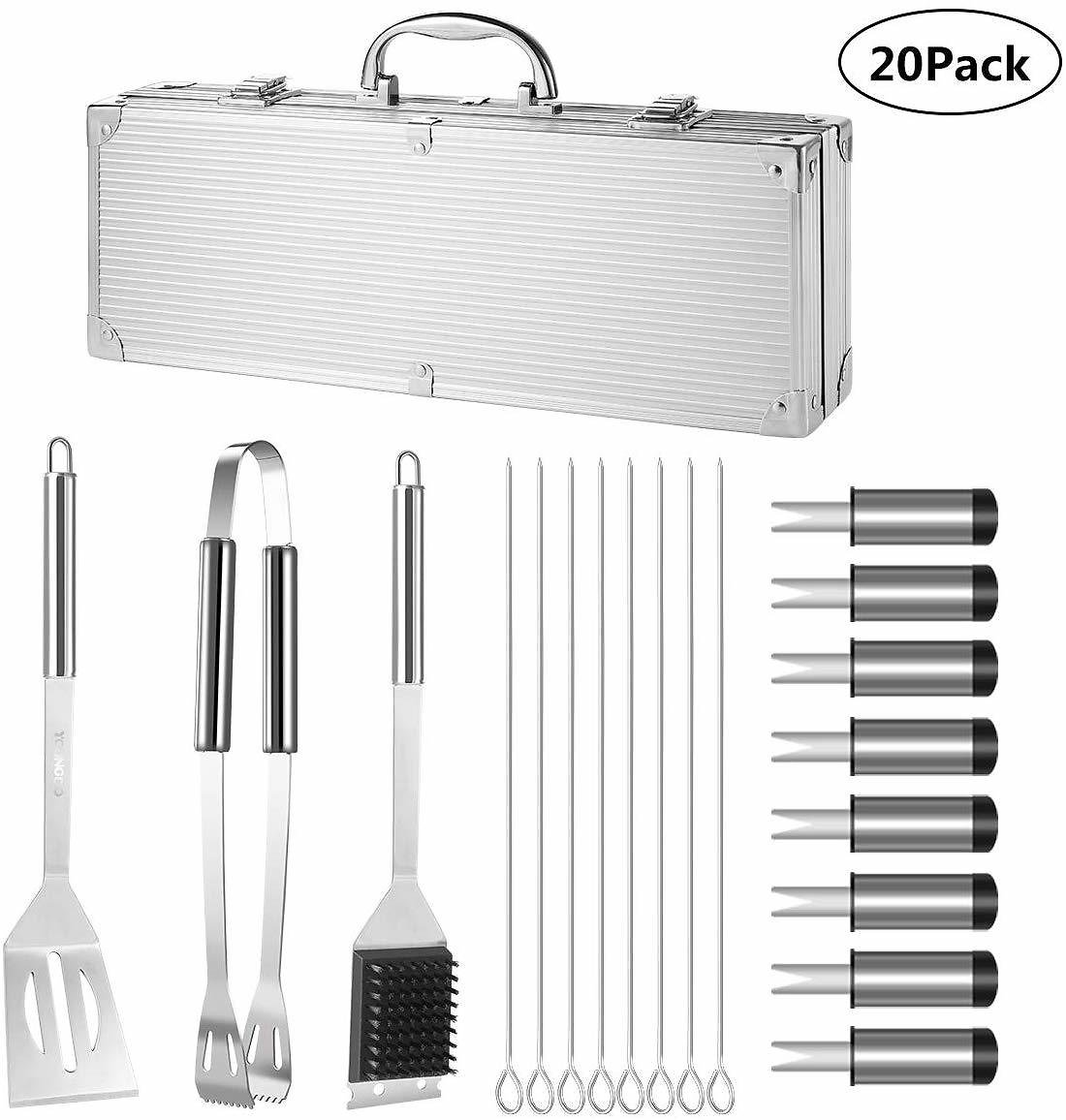 YOUNGDO 20Pcs BBQ Grill Tools Set Barbecue Grilling Accessories Kit with Aluminum Case