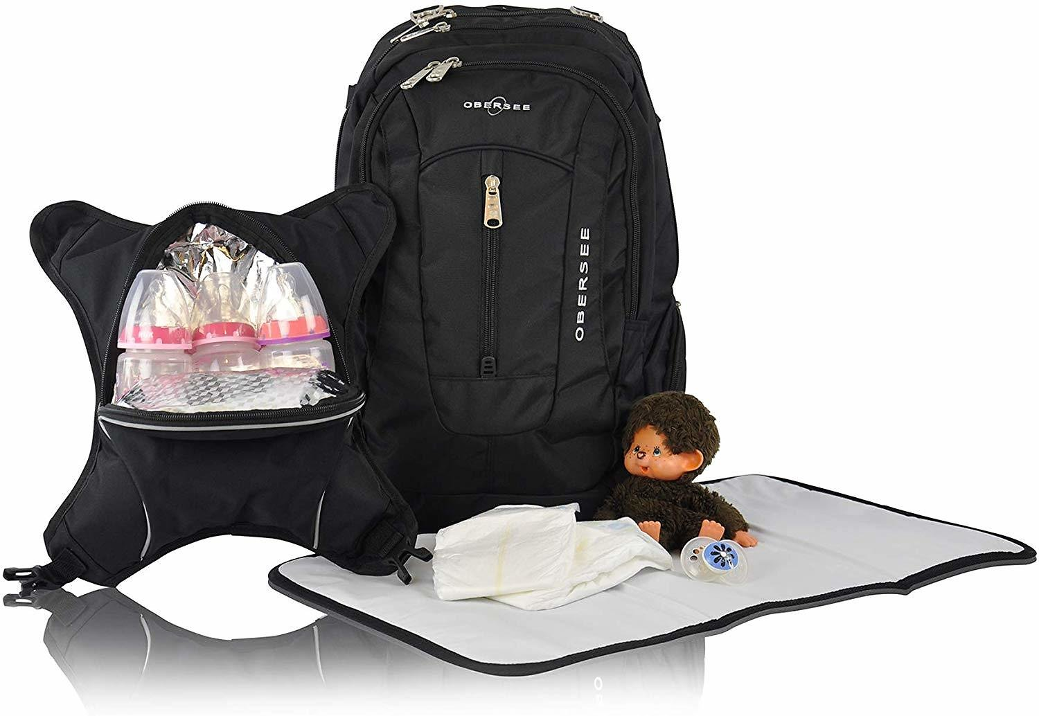 Obersee Bern Diaper Bag Backpack with Detachable Cooler, Black/Turquoise