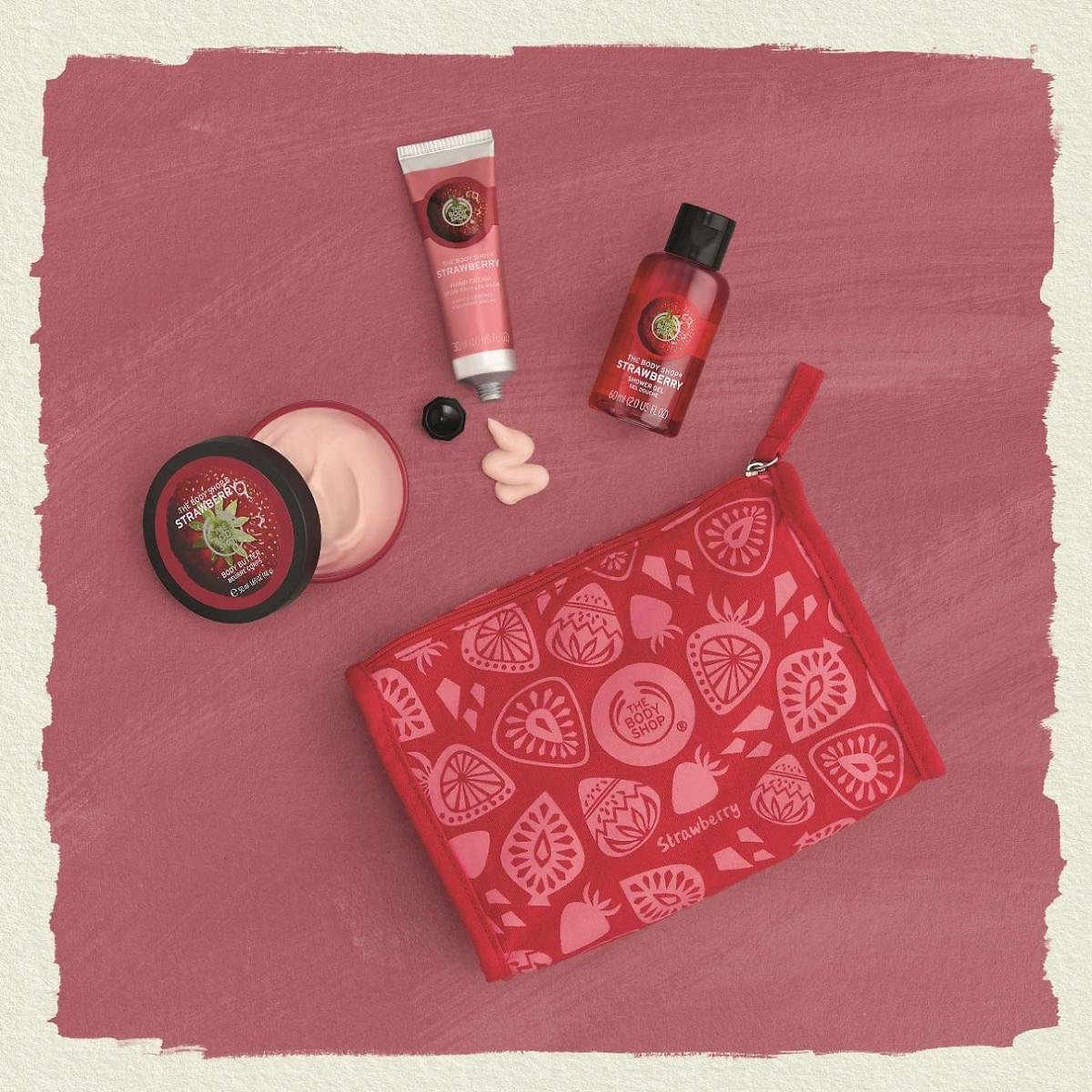 Save 22% | The Body Shop Strawberry Beauty Bag Gift Set, Includes Signature Strawberry Body Butter, Shower Gel, and Hand Cream
