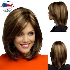 New Fashion Women's Short Brown Blonde Natural Straight Cosplay Hair Full Wig US