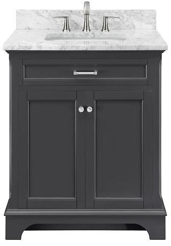Scott Living Roveland 30-in Dark Gray Single Sink Bathroom Vanity with Natural Carrara Marble Top At Lowes.com