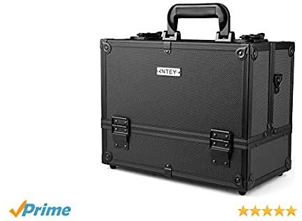 INTEY Makeup Train Case Jewelry Organizer Professional 3 Tiers Trays Professional Cosmetic Box with Lockable Key Portable Travel