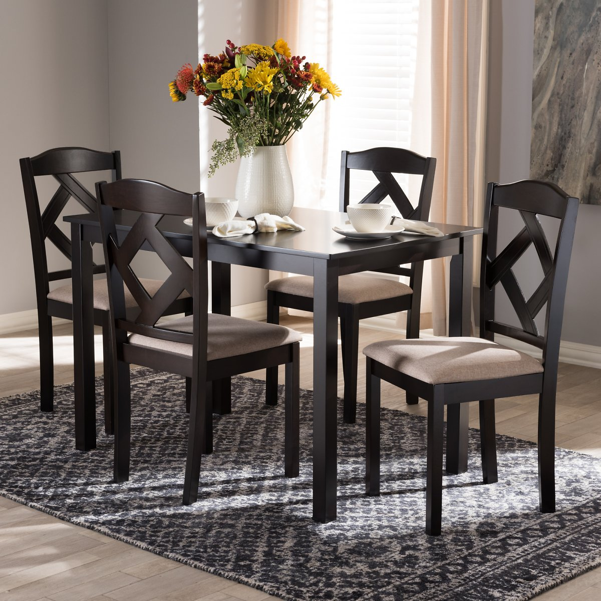 Baxton Studio Ruth Modern and Contemporary Dark Brown Finished 5-Piece Dining Set