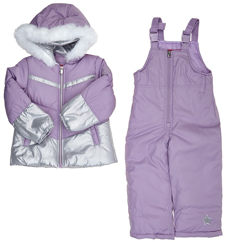 Toddler Girls Foil Color Block Hooded Puffer Coat with Snow Pants (2T-4T) 713782700