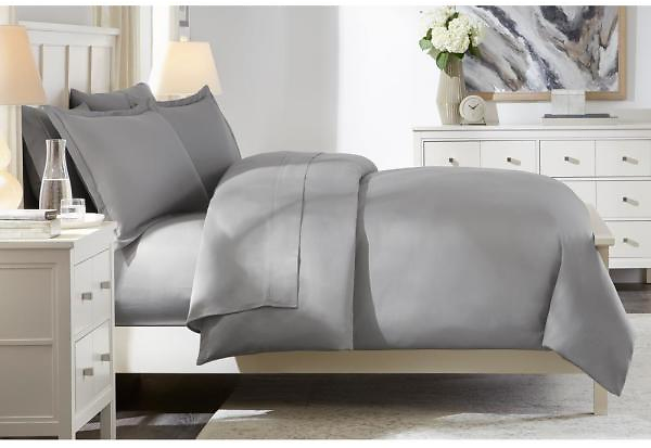 300 Thread Count Wrinkle Resistant American Cotton Sateen 3-Piece King Duvet Cover Set in Stone Gray