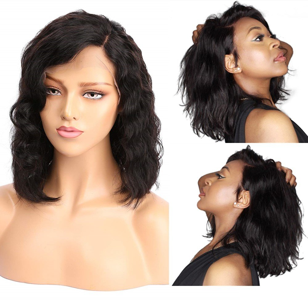 Perfume Lily 100% Real Human Hair Wigs with Brazilian Virgin Hair, Water Wave Lace Front Wigs, 130% Density, 8 Inch : Beauty