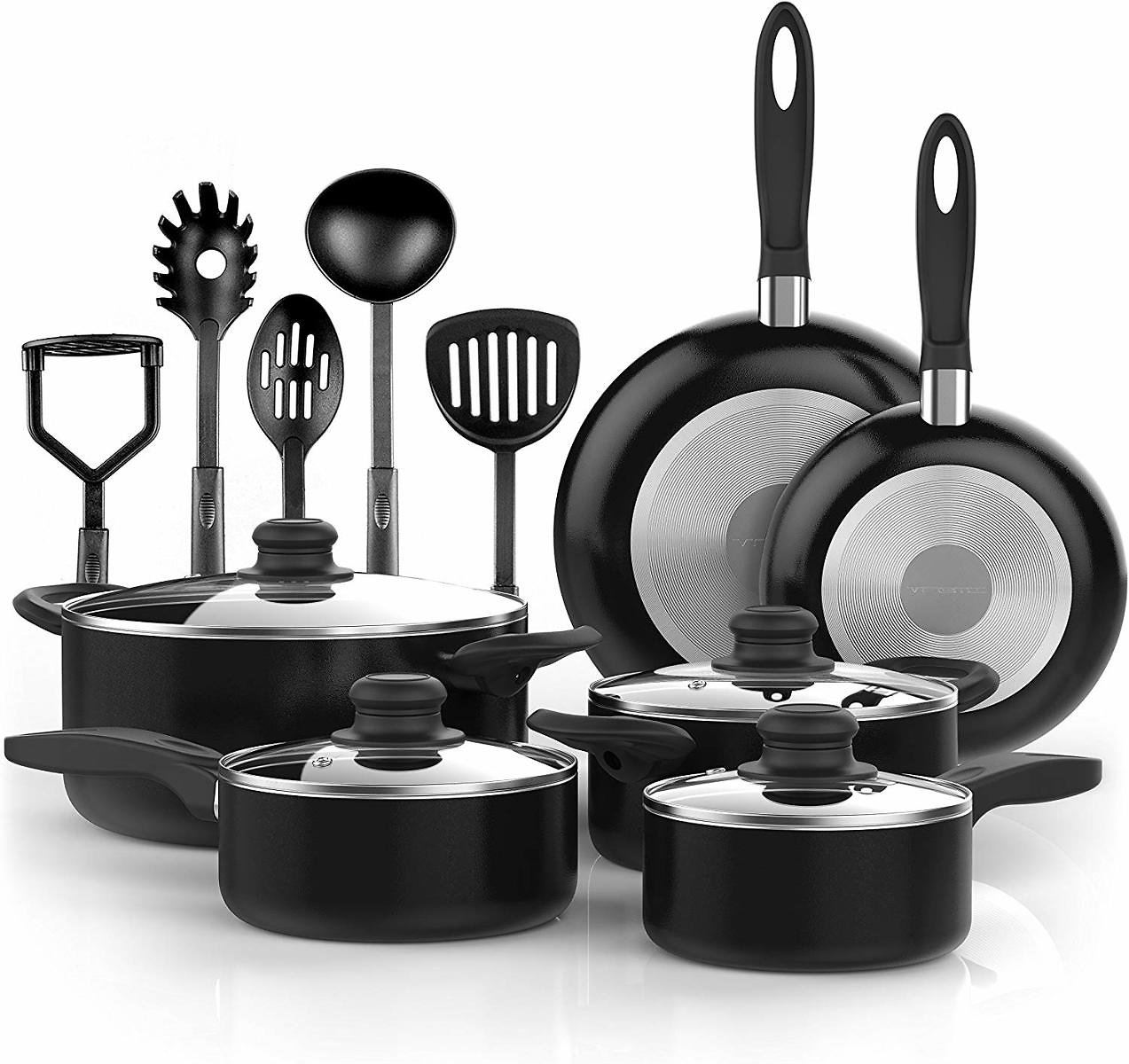 15 Pcs Nonstick Cookware Set - Durable Aluminum Pots and Pans with Cooking Utensils with Glass Lids