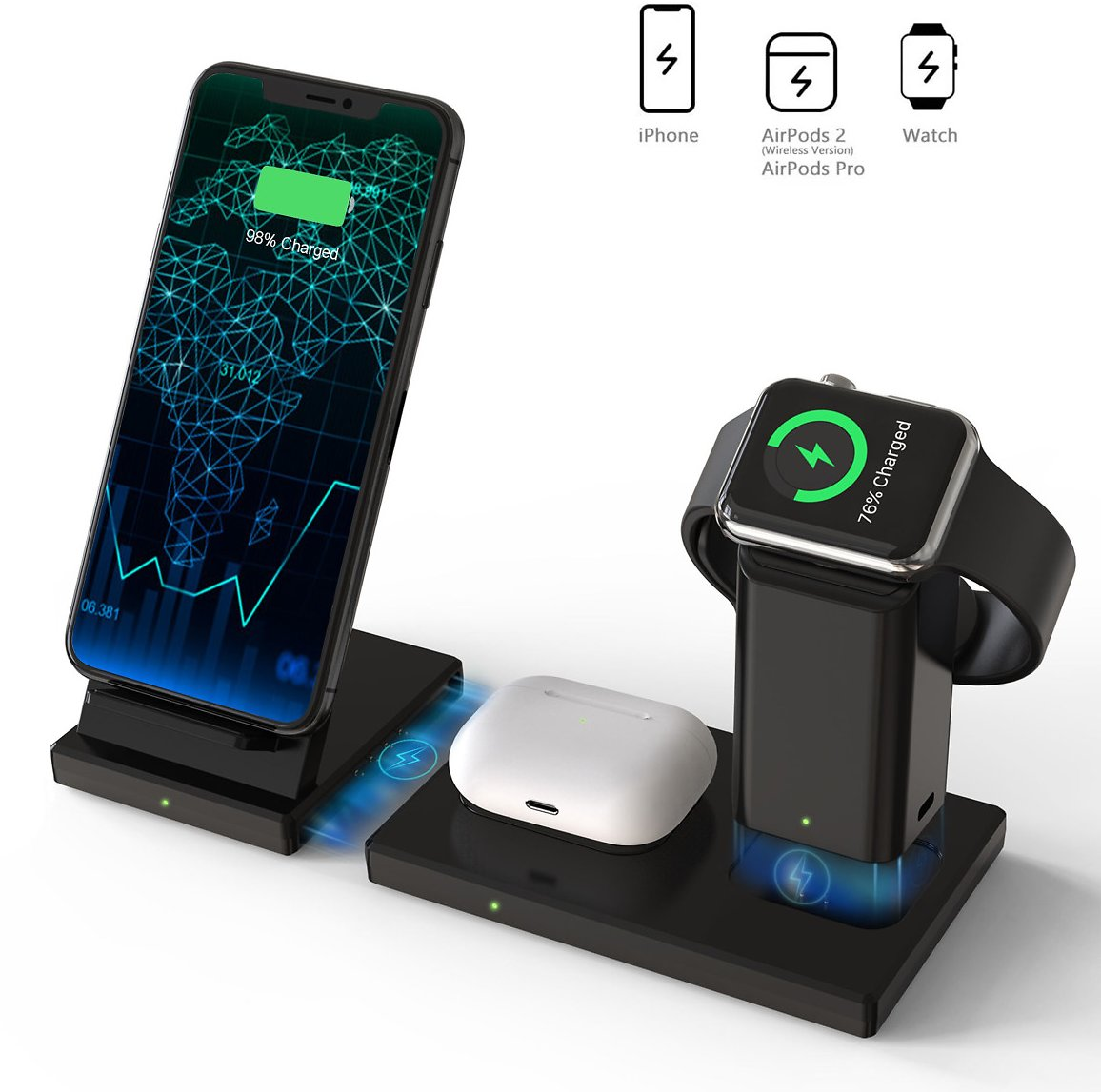 20% OFF DISCOUNT CODE Wireless Charger, 3 in 1 Wireless Charging Station for Apple Watch, AirPods Pro