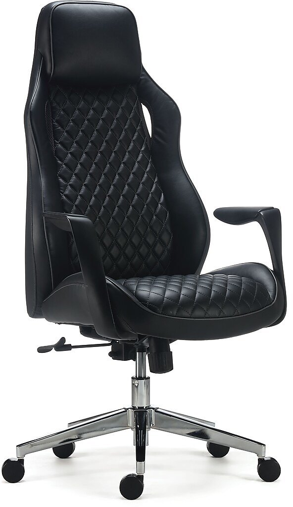 Staples Renaro Bonded Leather Managers Chair, Black