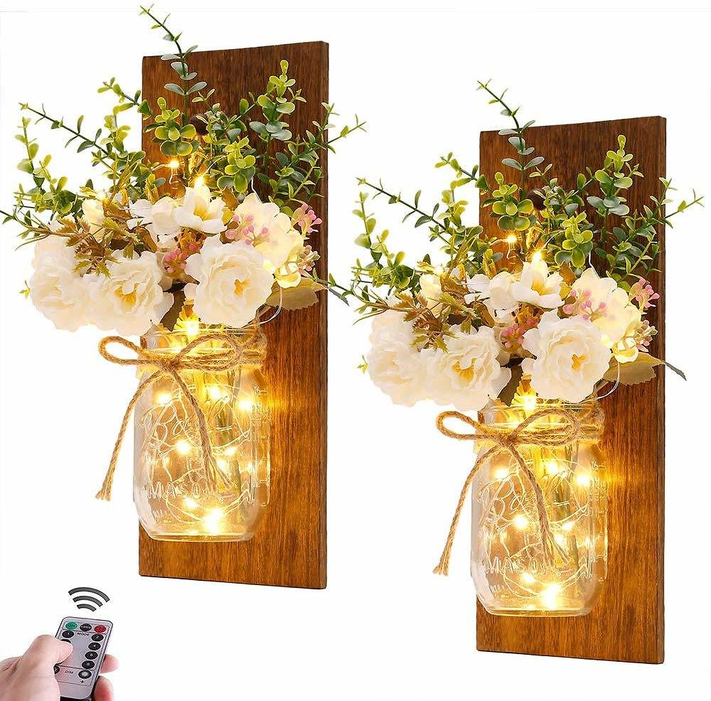 Set of 2 Rustic Wall Sconces Mason Jars - Handmade Wall Art Hanging Design with Fairy Lights and White Peony