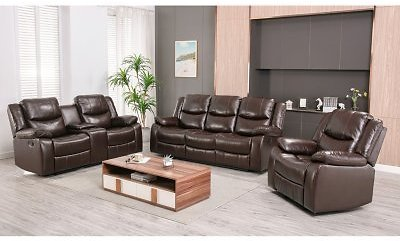 Lawrence 3-Piece Reclining Set - Sofa, Console Loveseat, Glider Recliner (2 Colors)