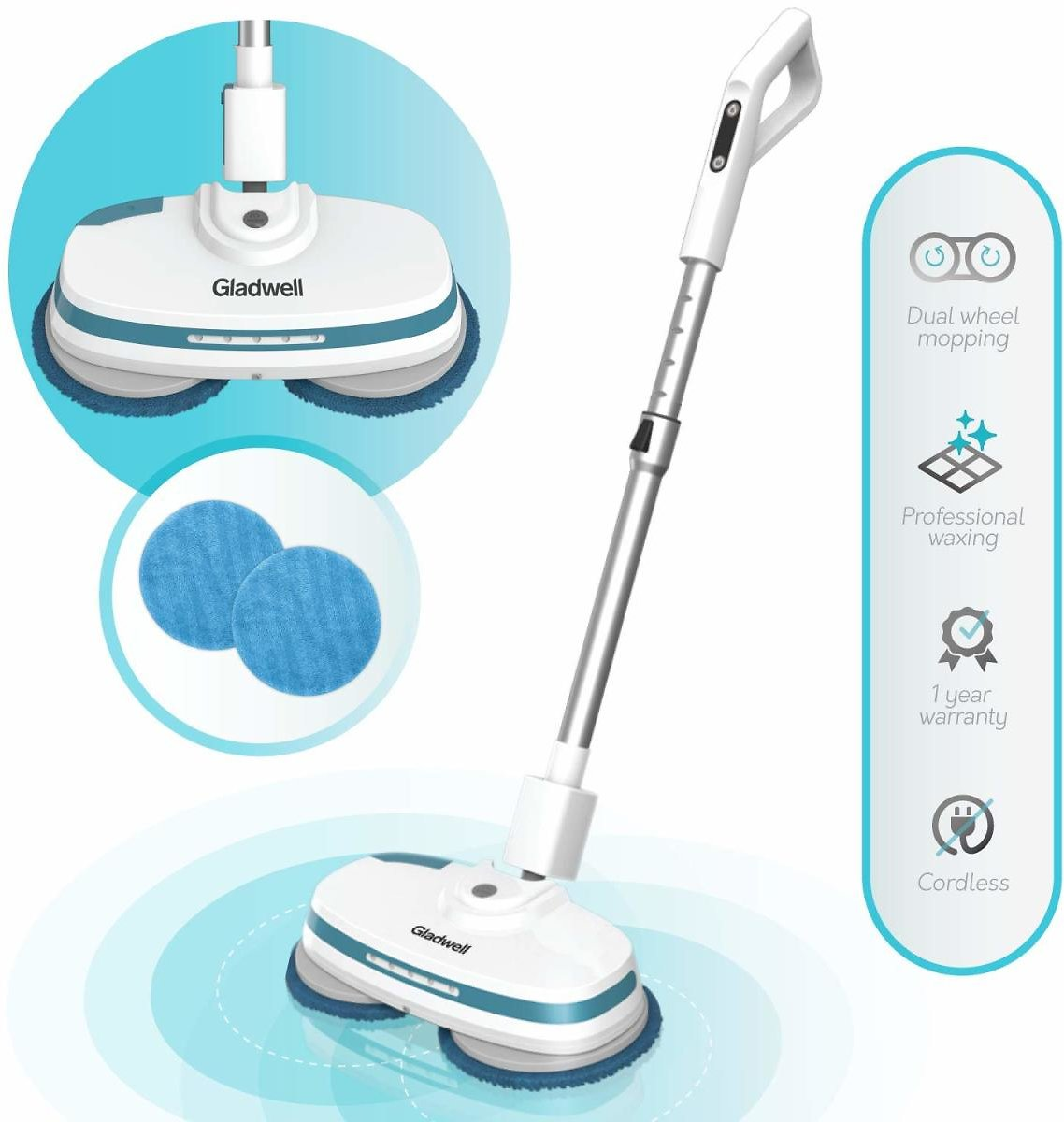 Gladwell Cordless Electric Mop - 3 in 1 Spinner, Scrubber, Waxer Quiet, Powerful Cleaner Spin Scrubber & Buffer | Amazon