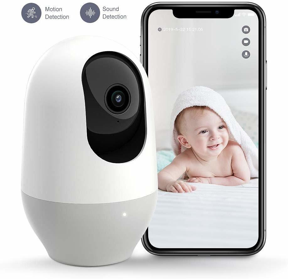 Baby / Pet Wifi Monitoring Camera, Indoor Home Security Camera - Motion Tracking, IR Night Vision, Works with Alexa