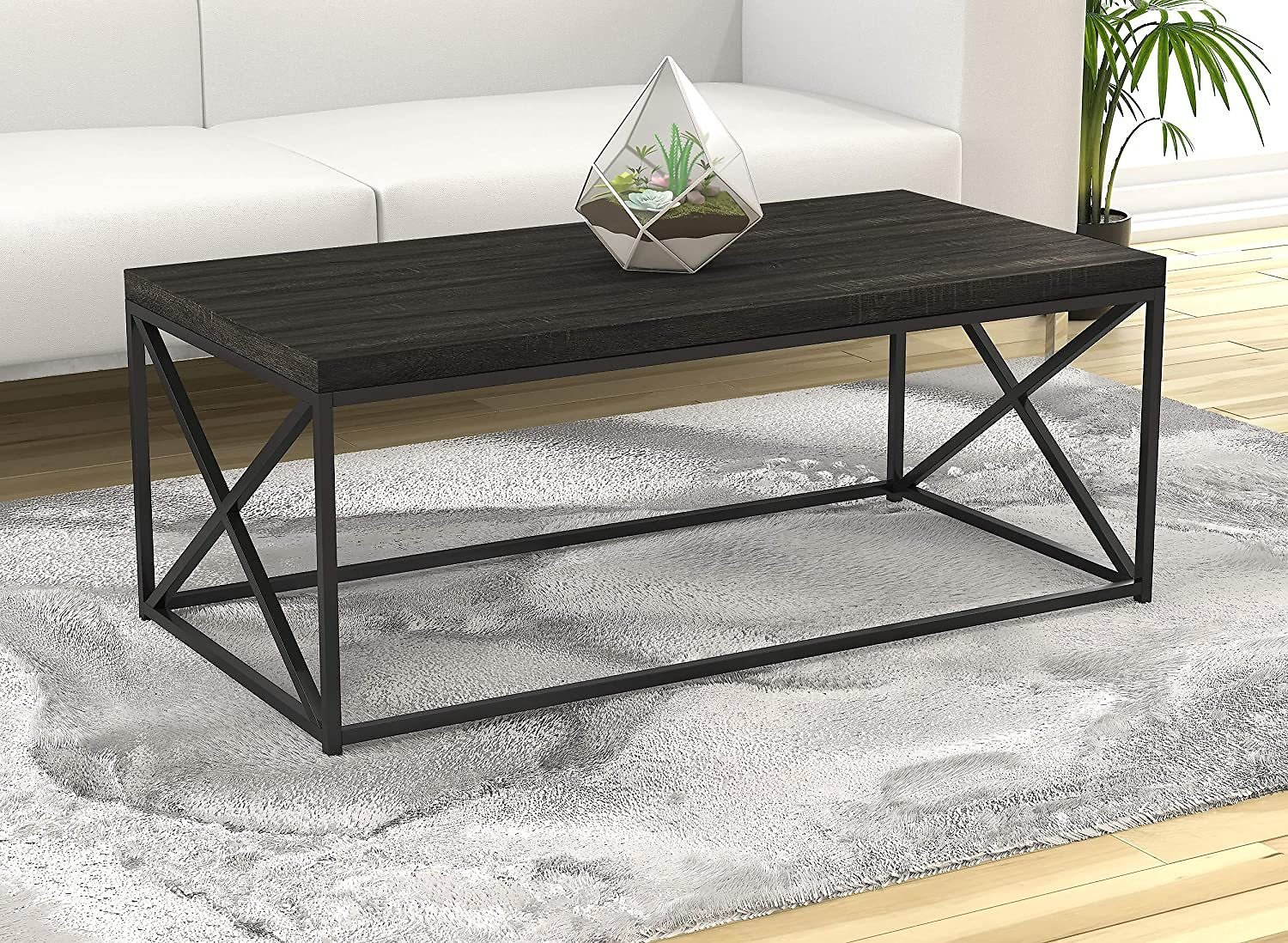 Safdie & Co. Grey Wood Living Room Coffee Coktail Tea Center Table-48 L Modern Low Table