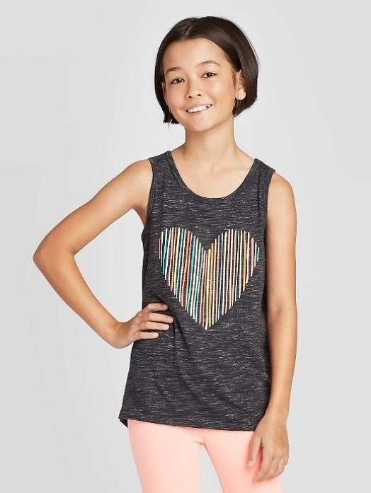 Girls' Rainbow Heart Graphic Tank Top - Cat & Jack™ Charcoal