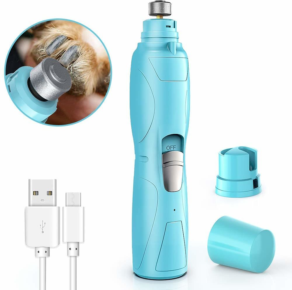 RUCACIO Dog Nail Grinder Electric Pet Paw Clipper Trimmer for Small Medium Large Breed Dog Cat Paws Grooming & Smoothing