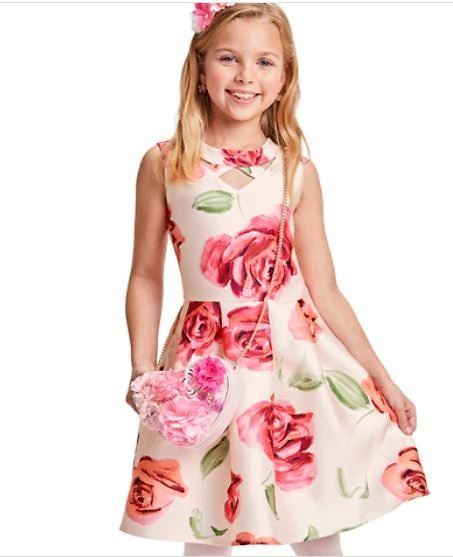 Girls Easter Sleeveless Rose Print Cut Out Matching Woven Pleated Dress