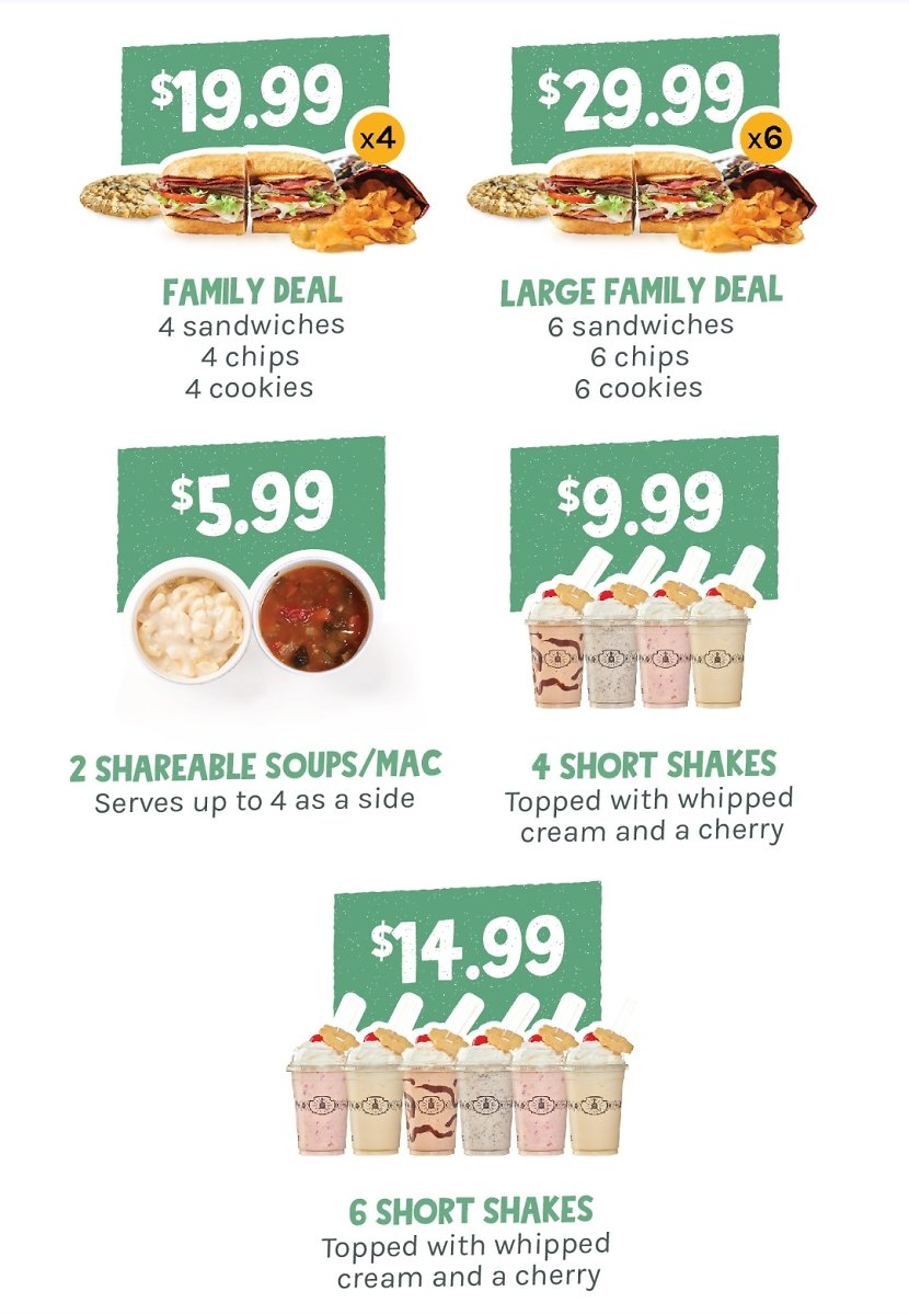 $19.99 Family Deal & More + Free Delivery Potbelly Sandwich Shop
