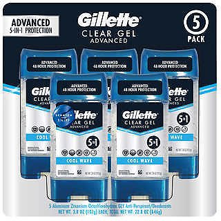 Gillette Advanced Clear Gel Antiperspirant 3.8 Oz., 5-count