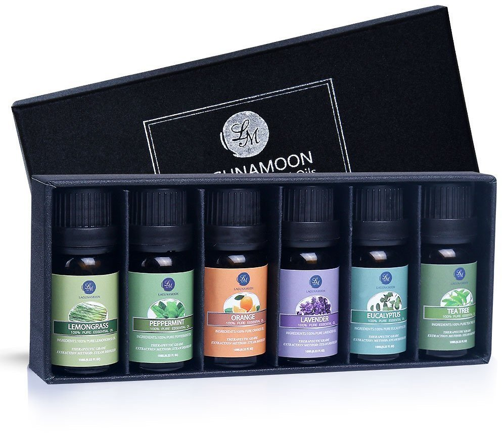 Pack of 6 Essential Oils for Diffuser, Humidifier, Massage, Aromatherapy, Skin & Hair Care
