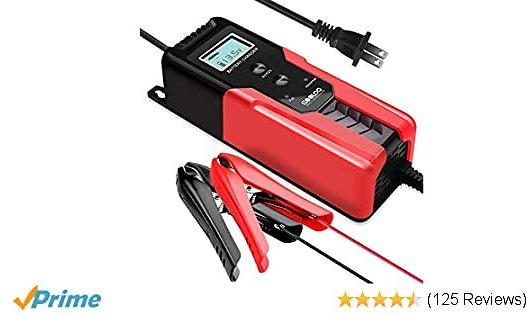 GOOLOO 6V/12V Smart Battery Charger and Maintainer 6-Amp Full Automatic 6-Stages Trickle Charging with Clamps for Car