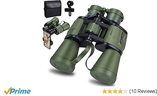 20x50 Roof Prism Binoculars for Adults, HD Professional Binoculars for Bird Watching Travel Stargazing Hunting Concerts Sports-BAK4 Prism FMC Lens-with Phone Mount Strap Carrying Bag (Green)
